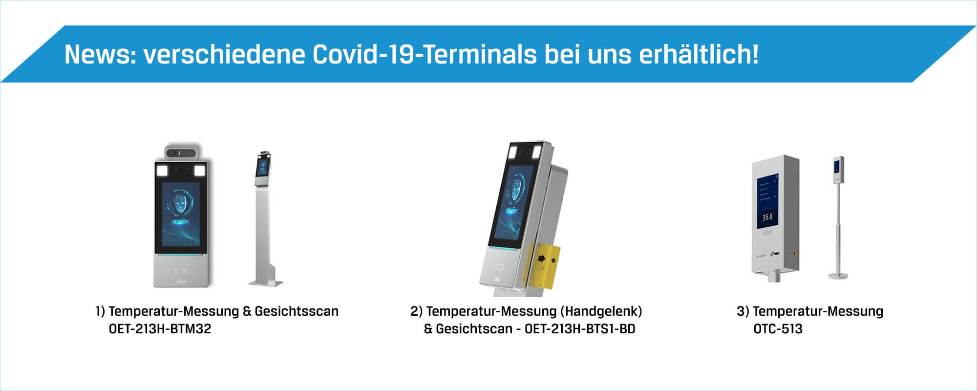 Zutrittskontrolle Covid-19 Terminals und Corona-Spezialartikel